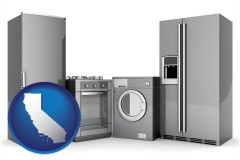 california map icon and home appliances