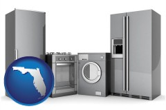 florida map icon and home appliances