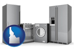 idaho map icon and home appliances