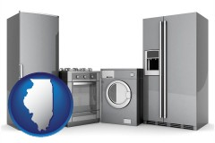 illinois map icon and home appliances