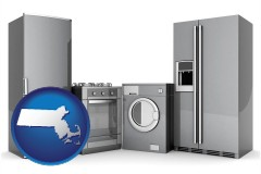 massachusetts map icon and home appliances