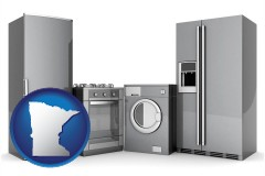 minnesota map icon and home appliances