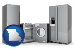 missouri map icon and home appliances