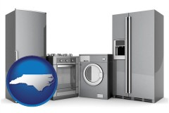 north-carolina map icon and home appliances