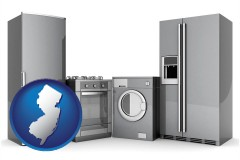 new-jersey map icon and home appliances