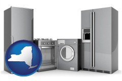 new-york map icon and home appliances