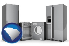 south-carolina map icon and home appliances