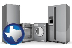 texas map icon and home appliances