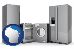 wisconsin map icon and home appliances